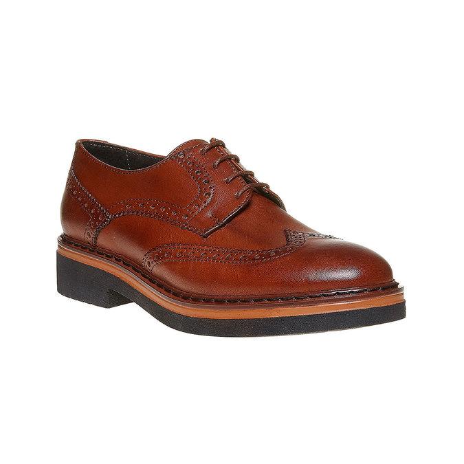 Chaussure lacée en cuir femme à semelle épaisse bata, Brun, 524-3356 - 13