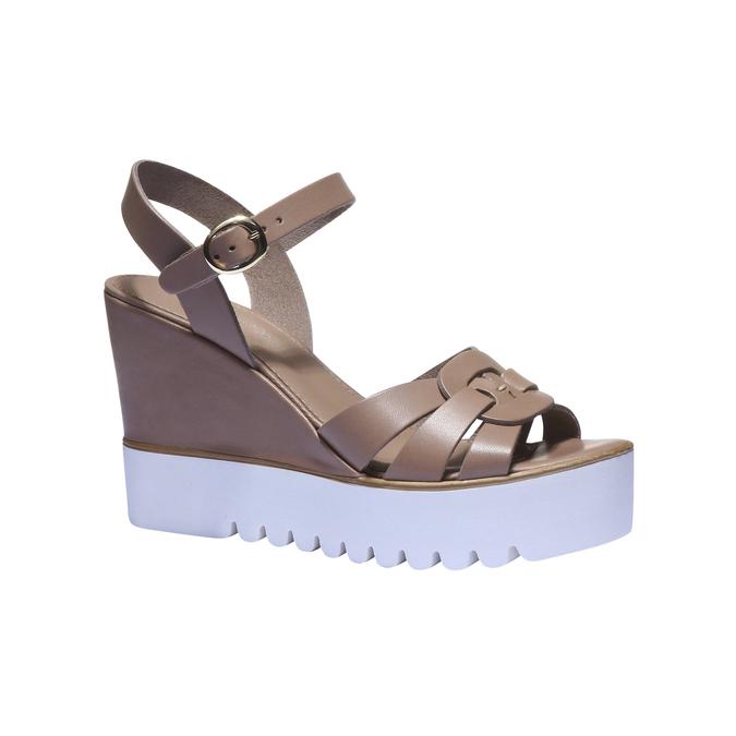 Sandales cuir à semelle épaisse bata, Gris, 764-2352 - 13
