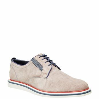 Chaussure lacée en cuir pour homme style Derby bata, Beige, 823-2814 - 13