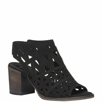 Sandale en cuir à talon pour femme bata, Noir, 763-6532 - 13