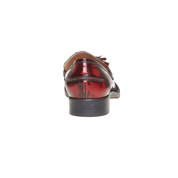 Loafers en cuir avec houppes bata, Rouge, 514-5246 - 17