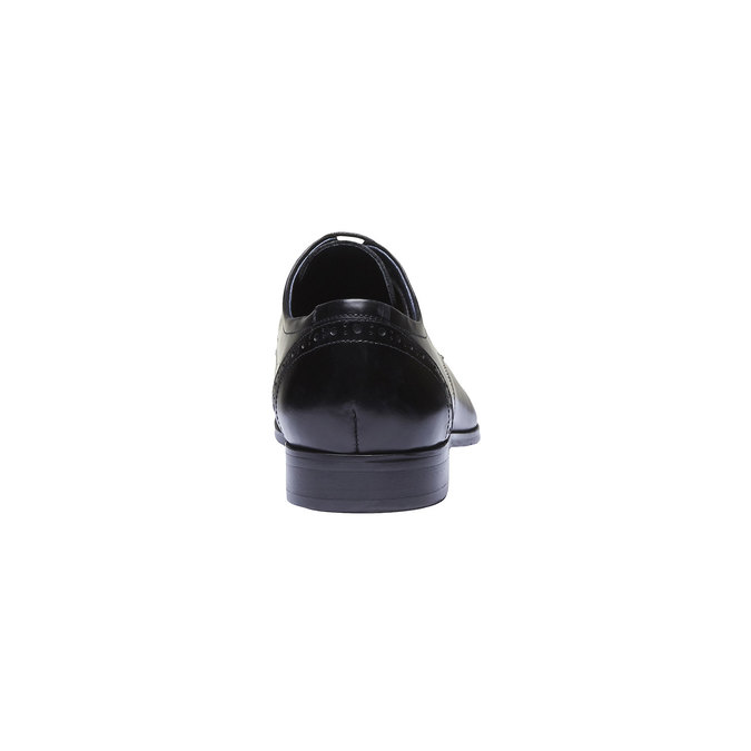 Chaussure lacée Derby en cuir avec décoration bata, Noir, 824-6274 - 17