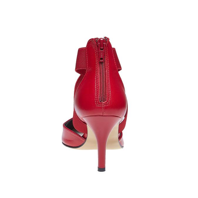 Escarpin en cuir rouge avec lanières sur l'empeigne bata, Rouge, 724-5369 - 17