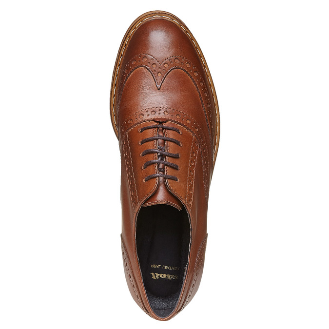 Chaussures en cuir à flatform bata, Brun, 524-3255 - 19