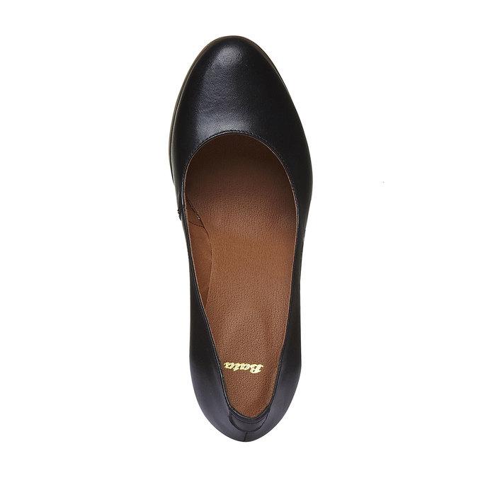 Escarpin à plateforme en cuir bata, Noir, 724-6943 - 19