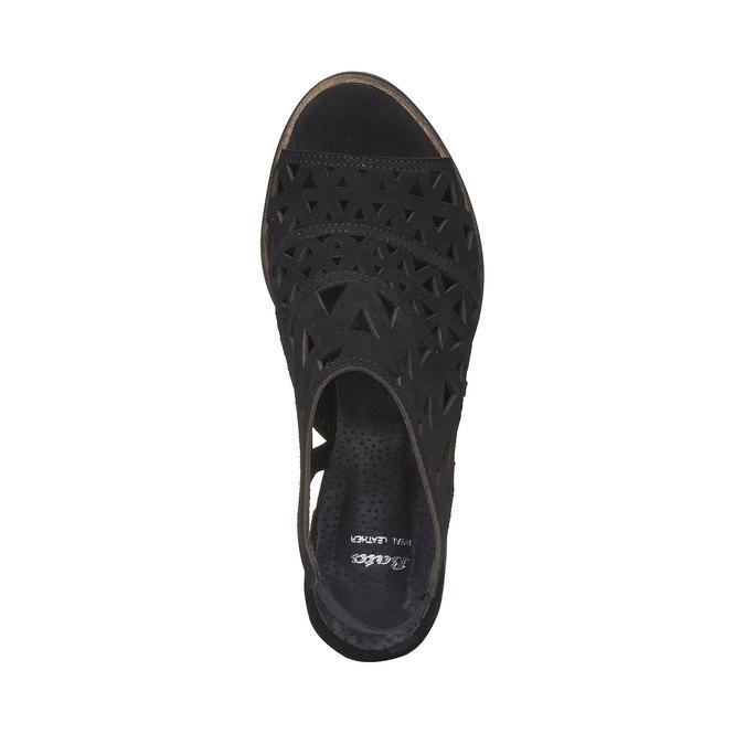Sandale en cuir à talon pour femme bata, Noir, 763-6532 - 19