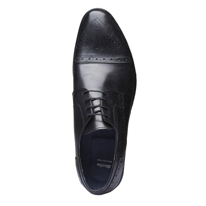 Chaussure lacée Derby en cuir bata, Noir, 824-6809 - 19