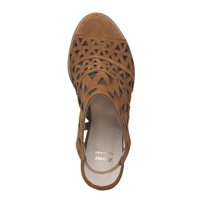 Sandale en cuir à talon large bata, Jaune, 763-8532 - 19