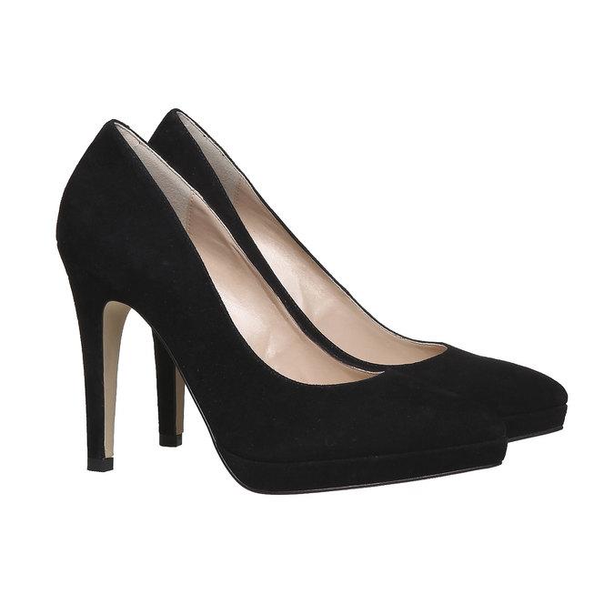 Escarpin en cuir noir bata, Noir, 723-6706 - 26