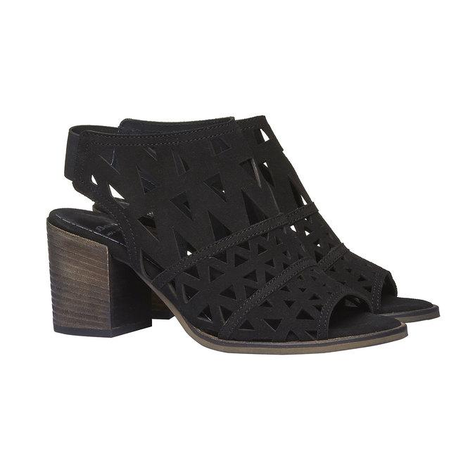 Sandale en cuir à talon pour femme bata, Noir, 763-6532 - 26