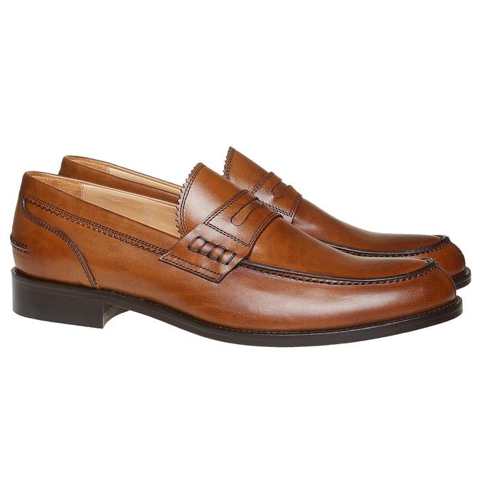 Penny Loafers en cuir pour homme bata-the-shoemaker, Brun, 814-3160 - 26
