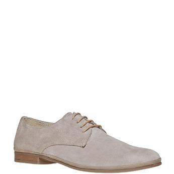 Chaussure lacée en cuir chamoisé bata, Gris, 823-2752 - 13