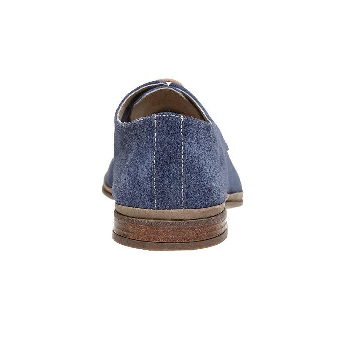 Chaussure lacée en cuir chamoisé bata, Bleu, 823-9752 - 17