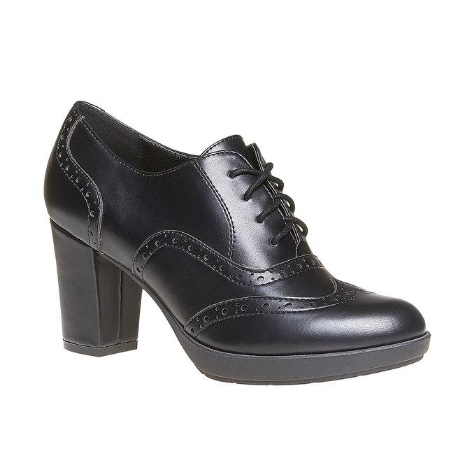 Chaussure Oxford femme à talon bata, Noir, 721-6225 - 13