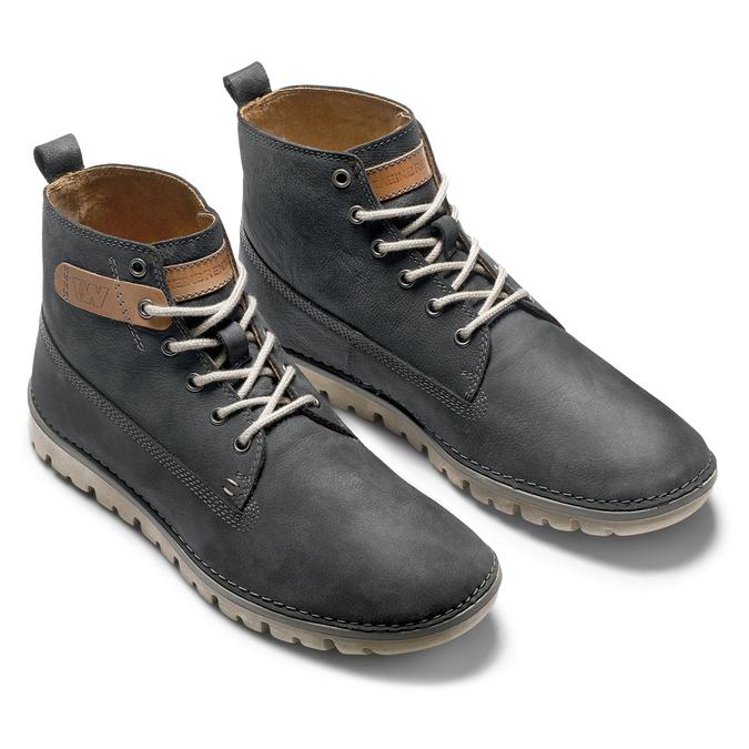 Chaussures lacées en cuir weinbrenner, Violet, 896-9340 - 19