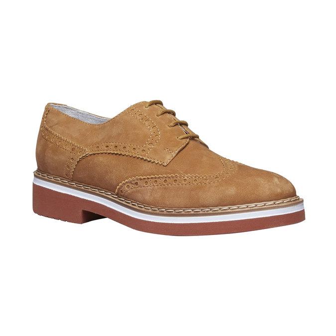 Chaussure de ville en cuir pour femme semelle épaisse bata, Brun, 523-3489 - 13