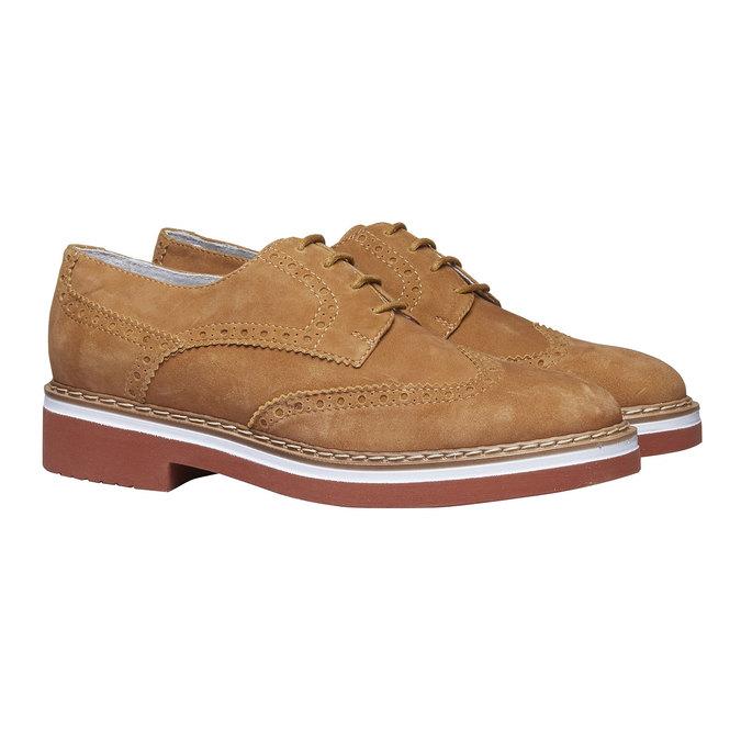 Chaussure de ville en cuir pour femme semelle épaisse bata, Brun, 523-3489 - 26