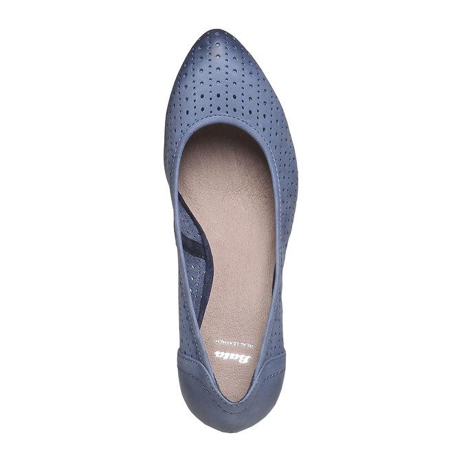 Escarpin compensé en cuir bata, Bleu, 624-9385 - 19