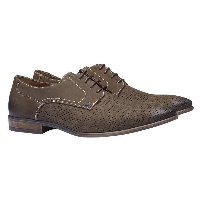 Chaussure lacée en cuir perforé pour homme bata, Brun, 826-4832 - 26