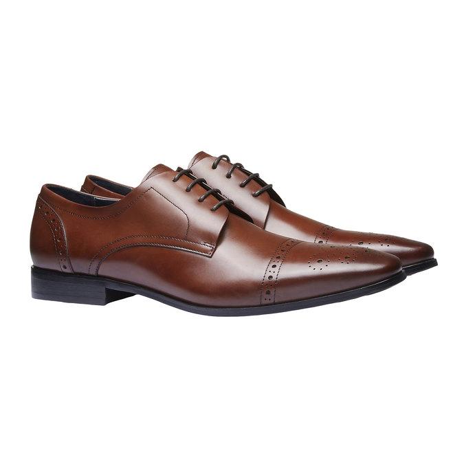 Chaussure lacée Derby en cuir avec décoration bata, Brun, 824-4274 - 26