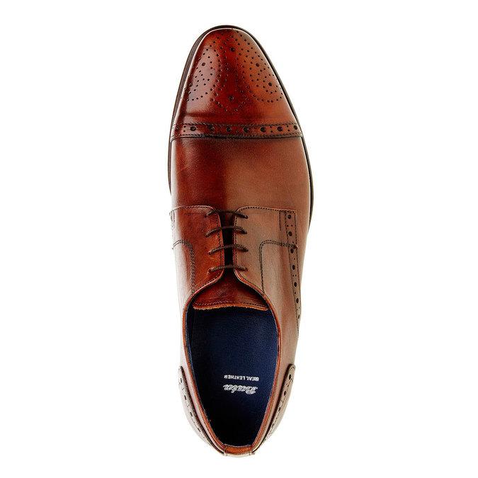 Chaussure lacée en cuir pour homme avec décoration bata, Brun, 824-4809 - 19