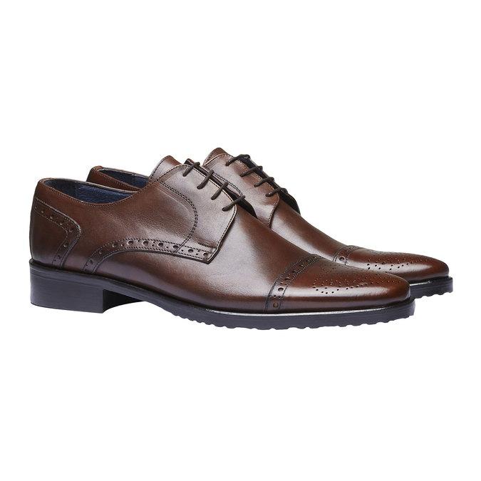 Chaussure lacée en cuir pour homme avec décoration bata, Brun, 824-4809 - 26