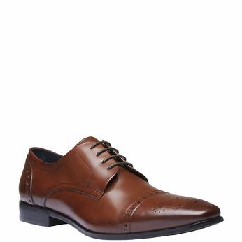 Chaussure lacée Derby en cuir avec décoration bata, Brun, 824-4274 - 13