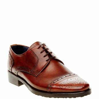 Chaussure lacée en cuir pour homme avec décoration bata, Brun, 824-4809 - 13