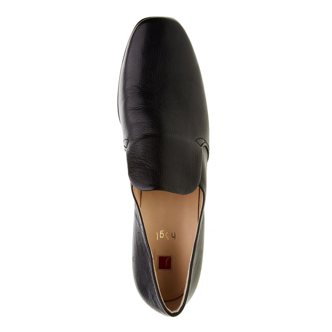 Escarpin en cuir avec empeigne hogl, Noir, 614-6109 - 19