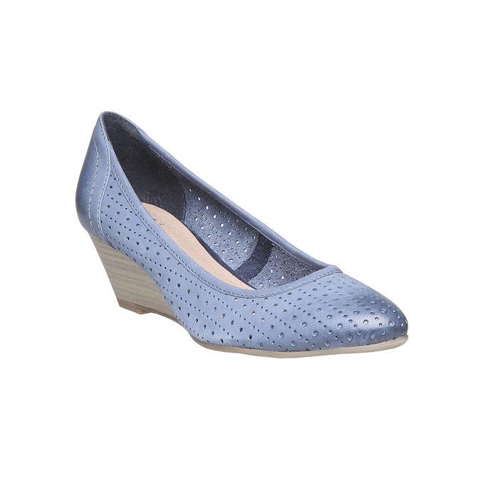 Escarpin compensé en cuir bata, Bleu, 624-9385 - 13