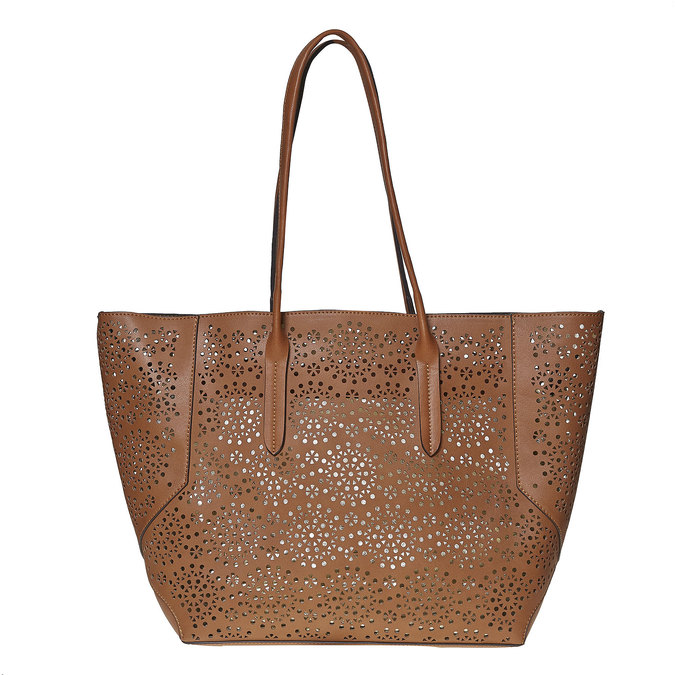 Sac à main marron avec perforations bata, Brun, 961-3368 - 26