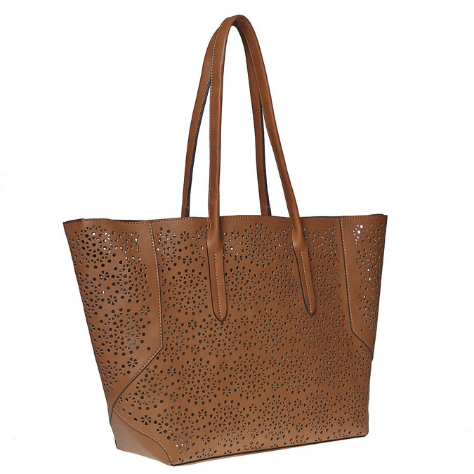 Sac à main marron avec perforations bata, Brun, 961-3368 - 13