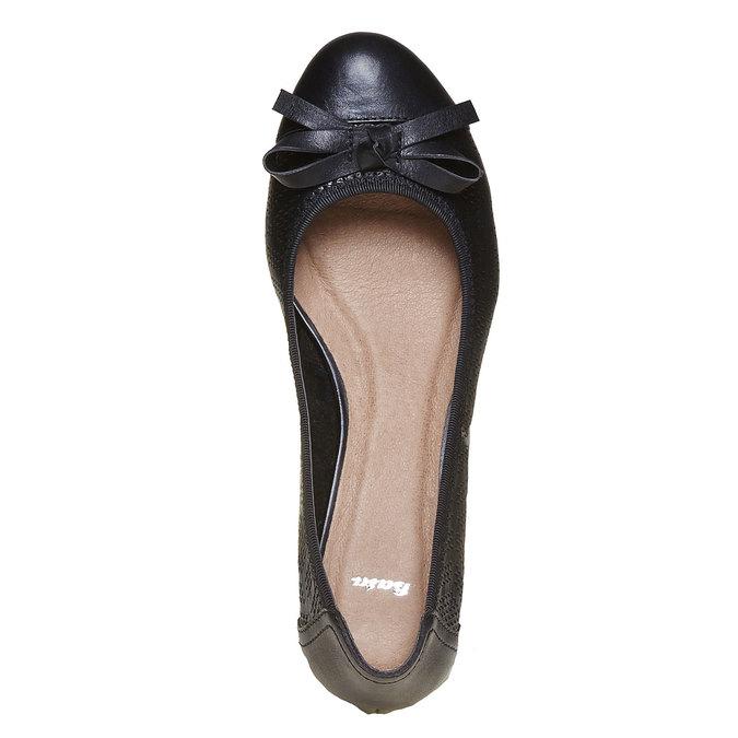 Escarpin perforé en cuir pour femme bata, Noir, 624-6131 - 19