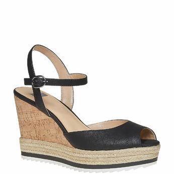 Sandale à plateforme bata, Noir, 761-6520 - 13