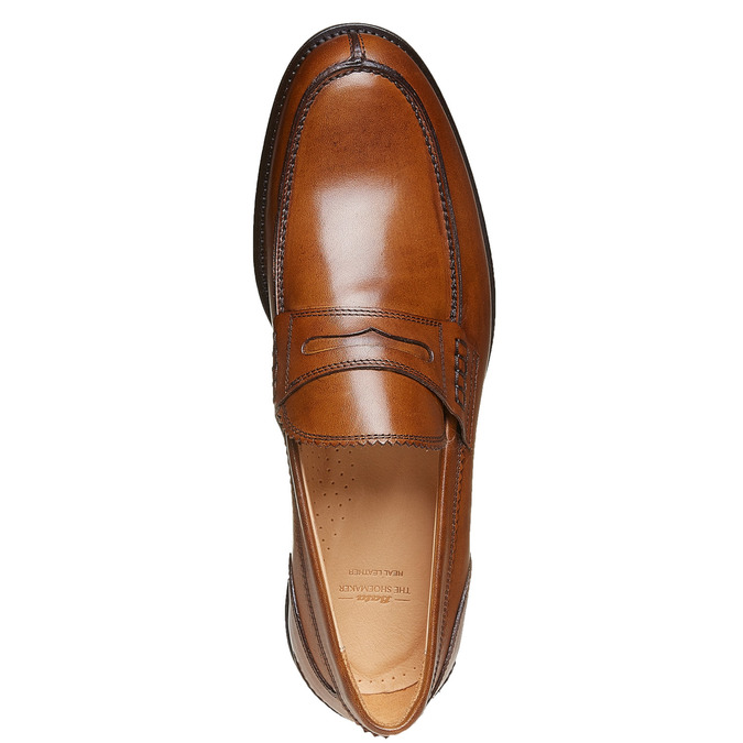 Penny Loafers en cuir pour homme bata-the-shoemaker, Brun, 814-3160 - 19