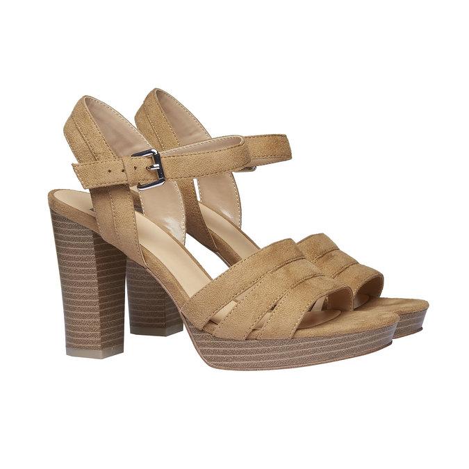 Sandale femme à talon massif bata, Jaune, 769-8484 - 26