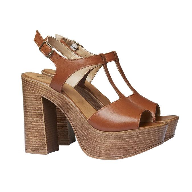 Sandale femme à talon massif bata, Brun, 764-4509 - 26