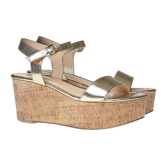 Sandale dorée à plateforme bata, Jaune, 761-8528 - 26
