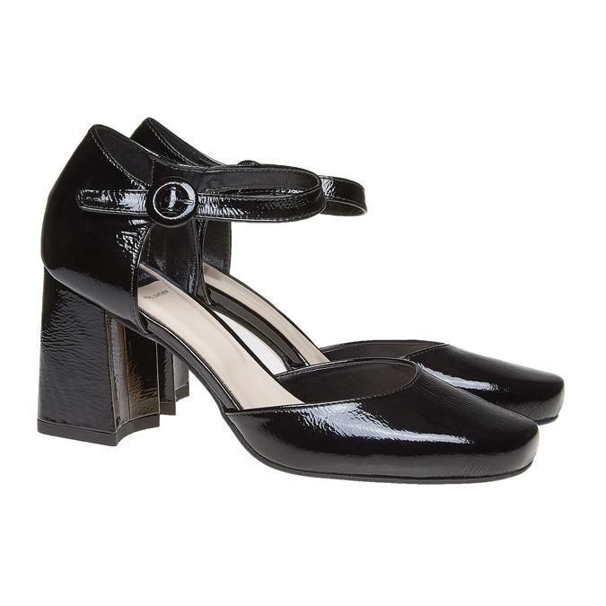 Sandale vernie en cuir à bout fermé bata, Noir, 728-6372 - 26