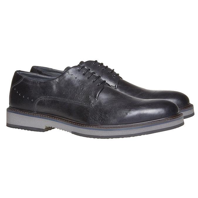 Chaussure lacée en cuir à semelle épaisse bata-light, Noir, 824-6643 - 26