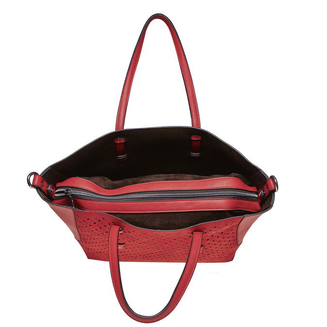 Sac à main avec perforations bata, Rouge, 961-5276 - 19