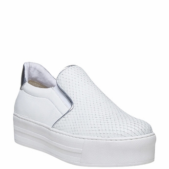 Slip-on en cuir pour femme north-star, Blanc, 514-1265 - 13