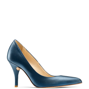 Escarpin pointu en cuir bleu bata, Violet, 724-9607 - 13