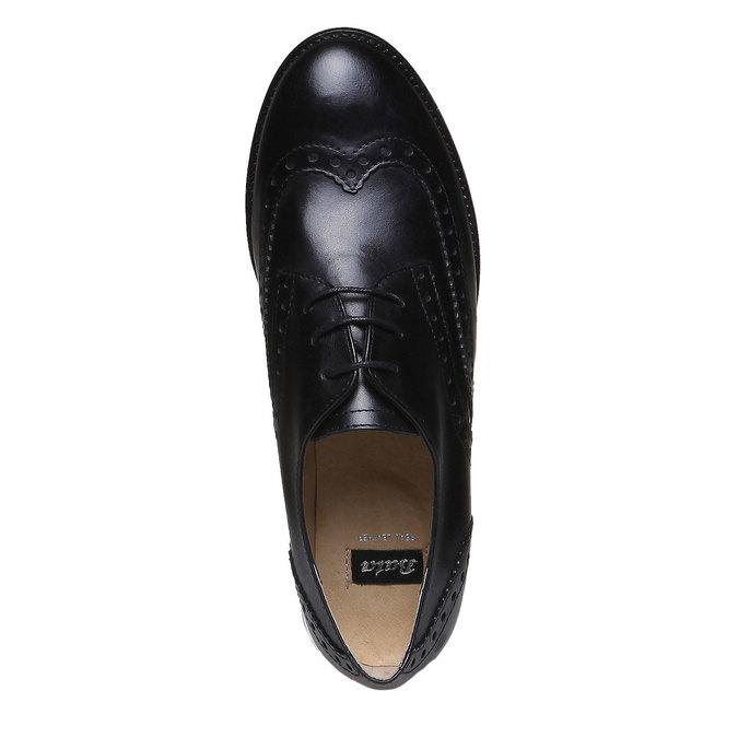 Chaussure lacée fantaisie en cuir pour femme bata, Noir, 524-6488 - 19