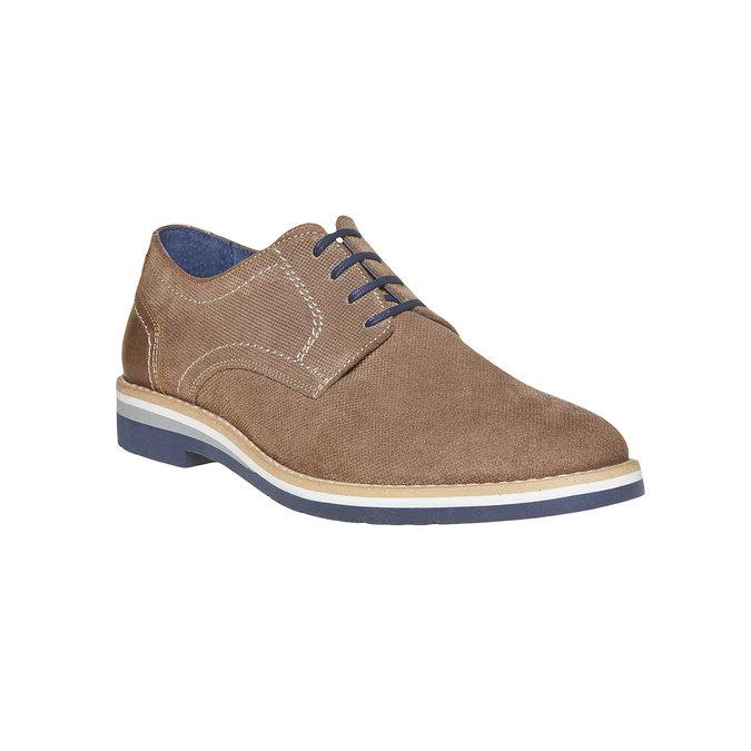 Chaussure lacée en cuir à semelle épaisse bata, Gris, 823-2258 - 13