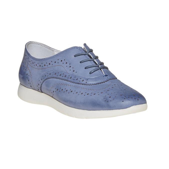 Chaussure lacée en cuir bleue bata, Violet, 526-9567 - 13