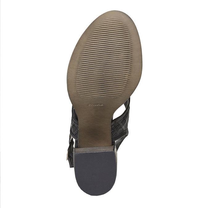 Sandale perforée en cuir bata, Noir, 764-6515 - 26
