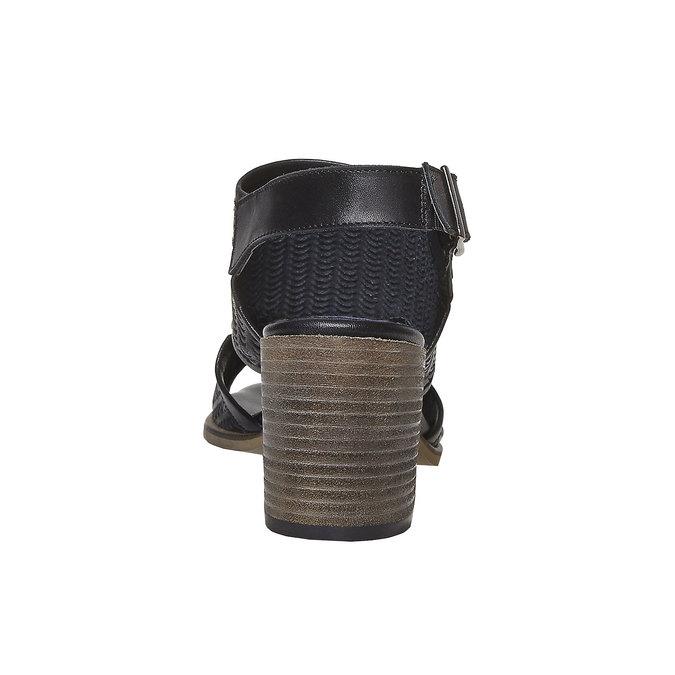 Sandale perforée en cuir bata, Noir, 764-6515 - 17