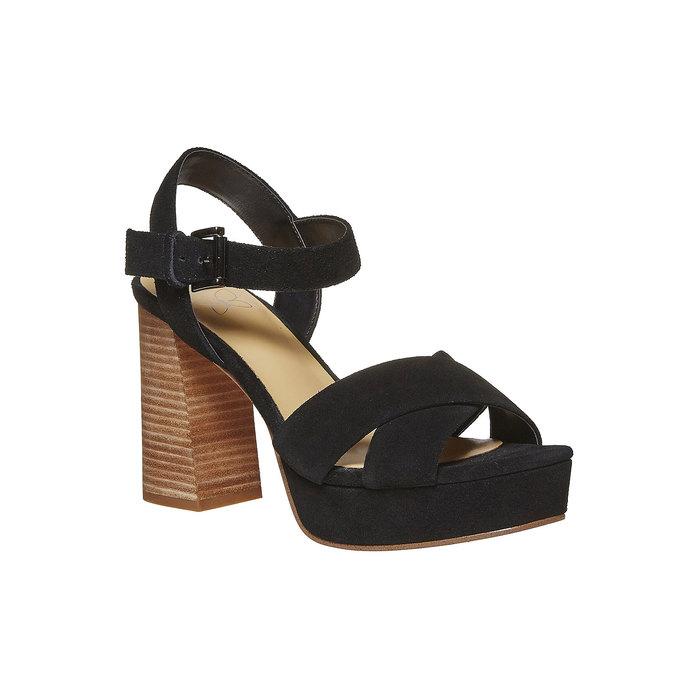 Sandale noire à talon effet bois insolia, Noir, 763-6502 - 13