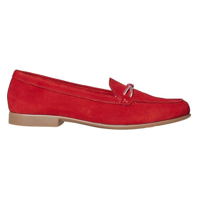 Mocassin à lacet en cuir pour femme flexible, Rouge, 516-5276 - 15